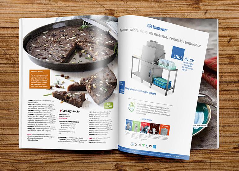 Creazione grafica per realizzazione pagina pubblicitaria dell'azienda Lamber