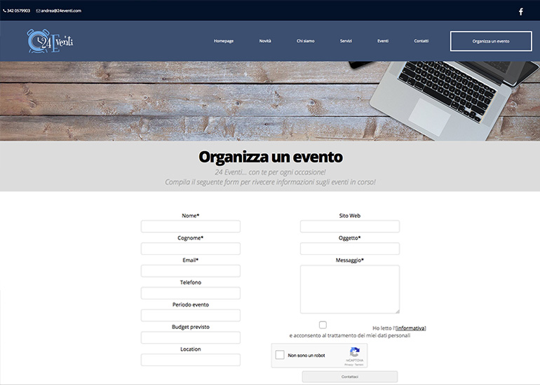 Pagina organizzazione eventi del sito web