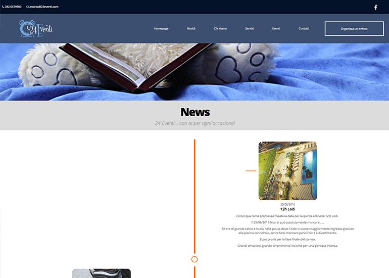 Pagina news sito web 24eventi