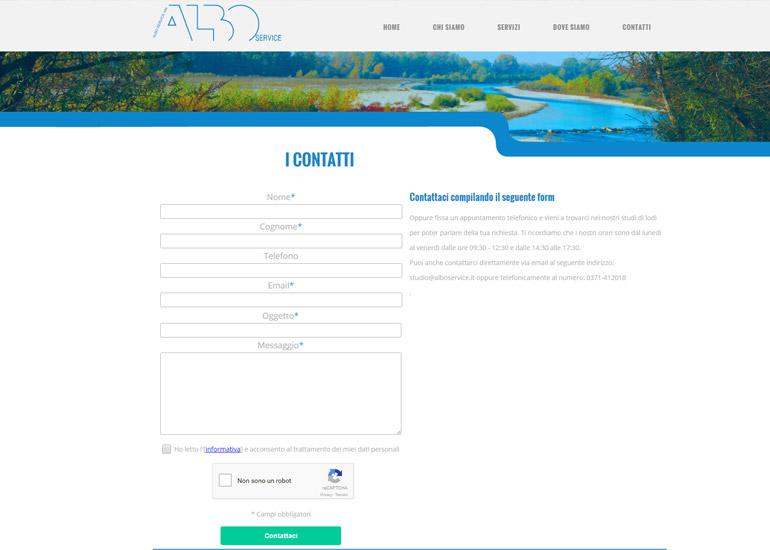 Pagina contatti sito web Albo Service