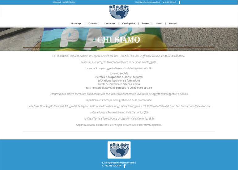 Pagina chi siamo sito internet Prodomo