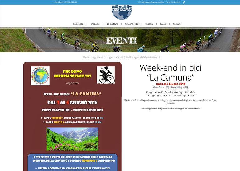 Pagina eventi sito internet Prodomo