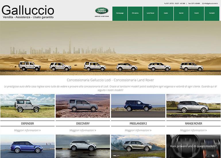 Pagina Land Rover sito web autoconcessionaria Galluccio