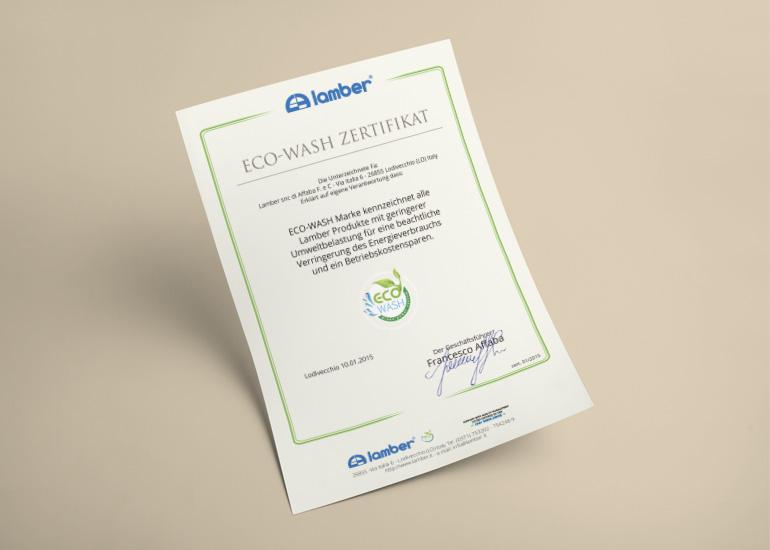 Certificato di impatto ambientale per azienda Lamber