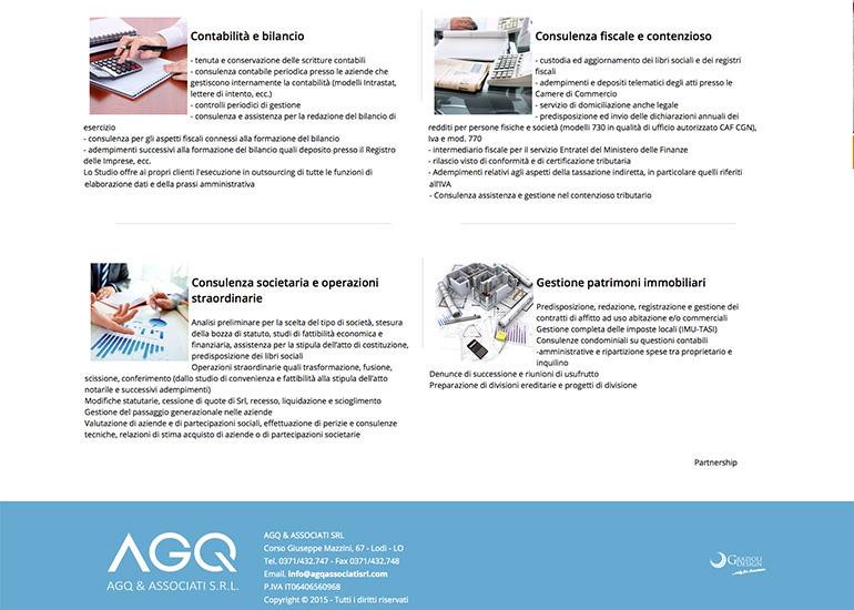 Pagina servizi del sito web AGQ & Associati
