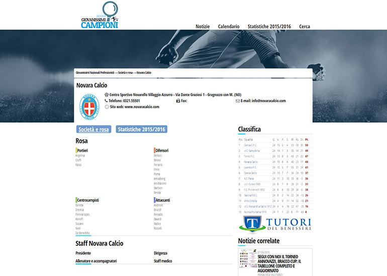 Pagina con scheda del portale Giovanissimi Campioni