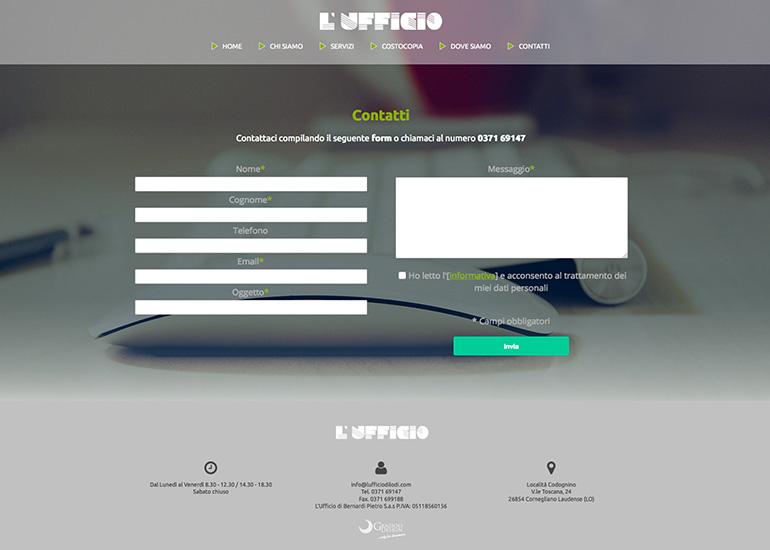 Pagina contatti del sito web L'Ufficio di Lodi