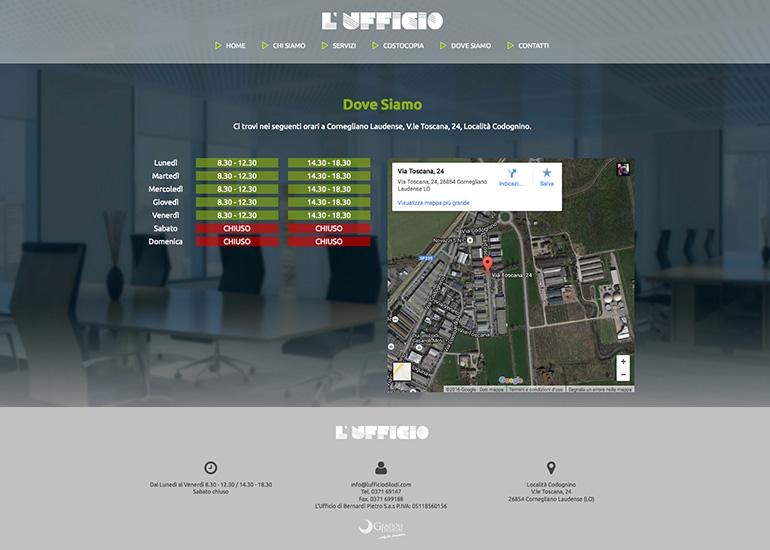 Pagina dove siamo e orari del sito web L'Ufficio di Lodi