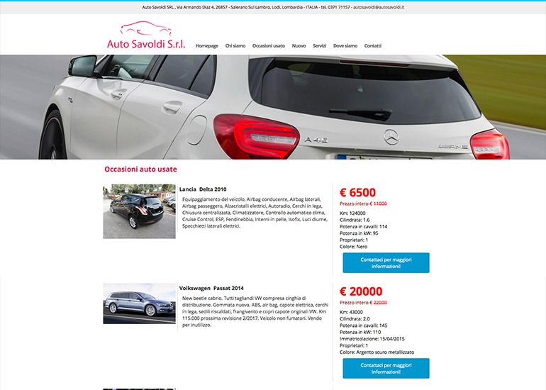 Pagina vetture usate in vendita del sito auto Savoldi