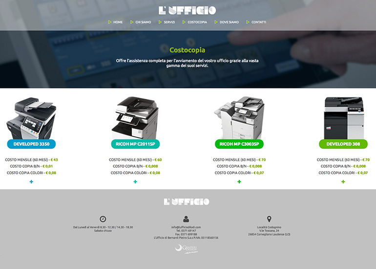 Pagina prodotti sito web L'Ufficio di Lodi