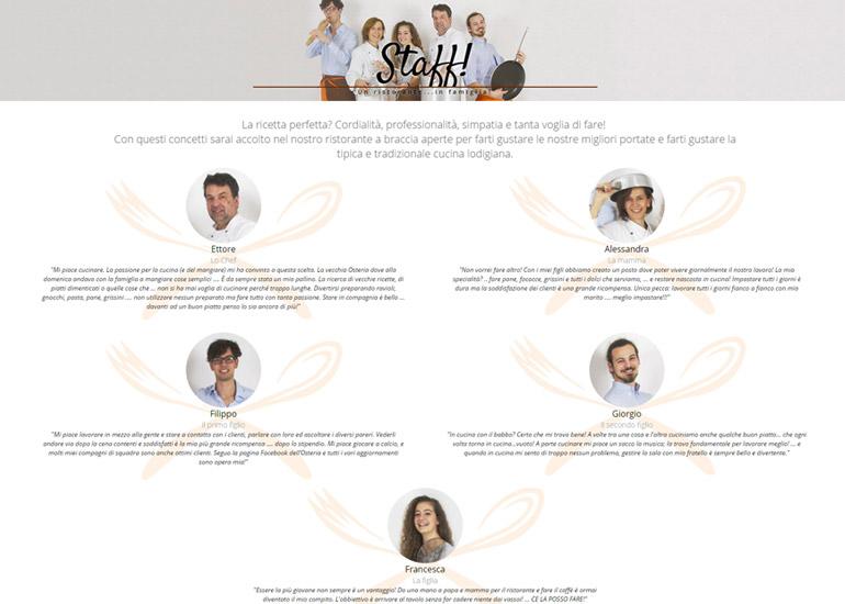 Pagina chi siamo sito web Osteria del Mercato
