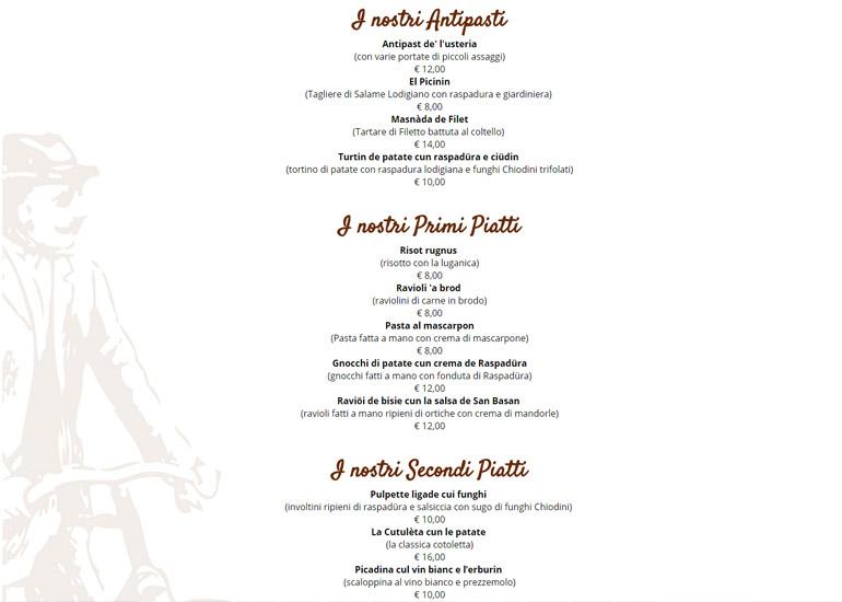 Pagina menù sito web Osteria del Mercato