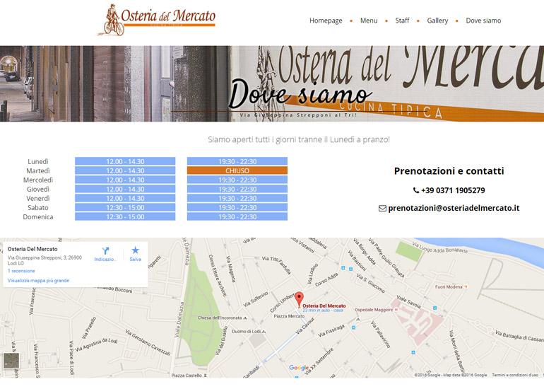 Pagina dove siamo sito internet Osteria del Mercato