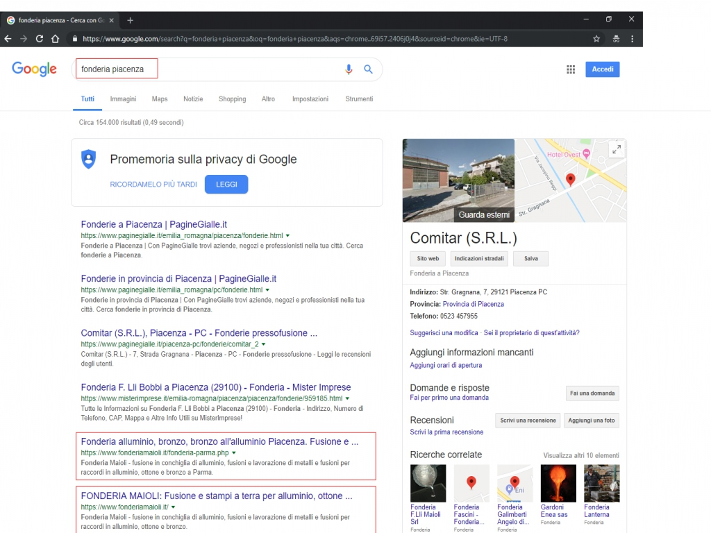 realizzazione siti web in prima pagina su google